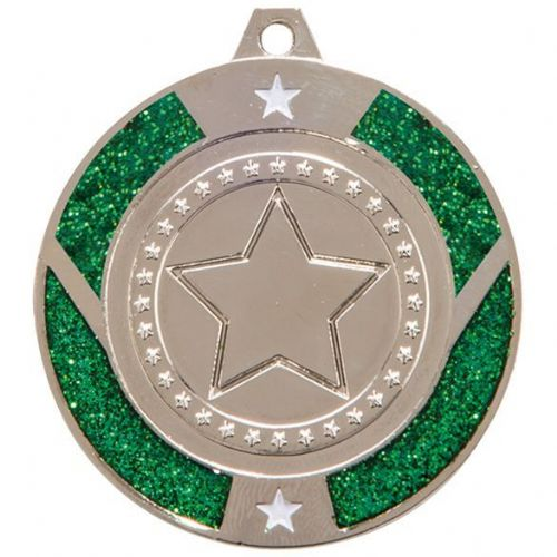 Glitter Star Medal Silver & Green 50mm